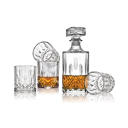 Le Regalo 5 Piece Whiskey Decanter Set - 1 Decanter with stopper and 4 Whiskey Glasses, 1000ml Capacity Whiskey Decanter, Stylish Cut and Design Whiskey Glasses