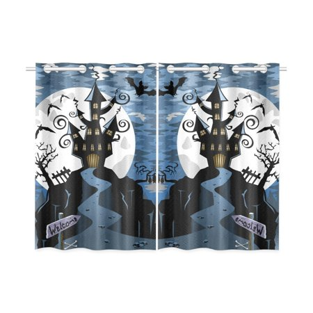 MYPOP Halloween Night Scene With Spooky Ghost Castle Window Curtain Home Decor Kitchen Curtain 26x39 inches (Two Pieces) - Spooky Scene