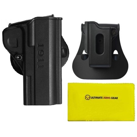 IMI Defense Z8070 Holster 1911  45 ACP/9mm/ 38 Super/10mm Auto Commander  Pistols, Black + ZSP06  45 ACP Single Stack Variants Mag Pouch + Ultimate