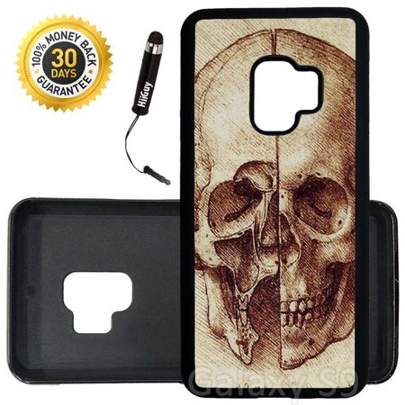 Custom Galaxy S9 Case (Da Vinci Sketch Half Skulls) Edge-to-Edge Rubber Black Cover Ultra Slim | Lightweight | Includes Stylus Pen by Innosub