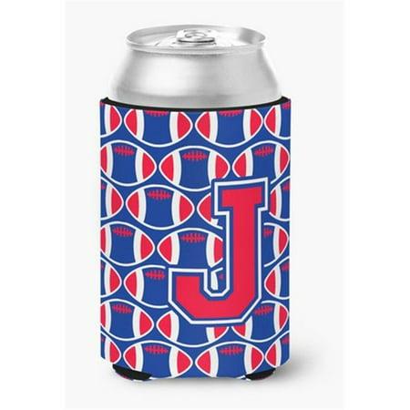 Letter J Football Harvard Crimson & Yale Blue Can or Bottle Hugger - image 1 of 1