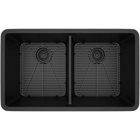 LEXICON  Platinum Double Equal Bowl Quartz Composite 32 x 19 x 9 / 9 in. D Kitchen Sink 8' Double Equal Sink