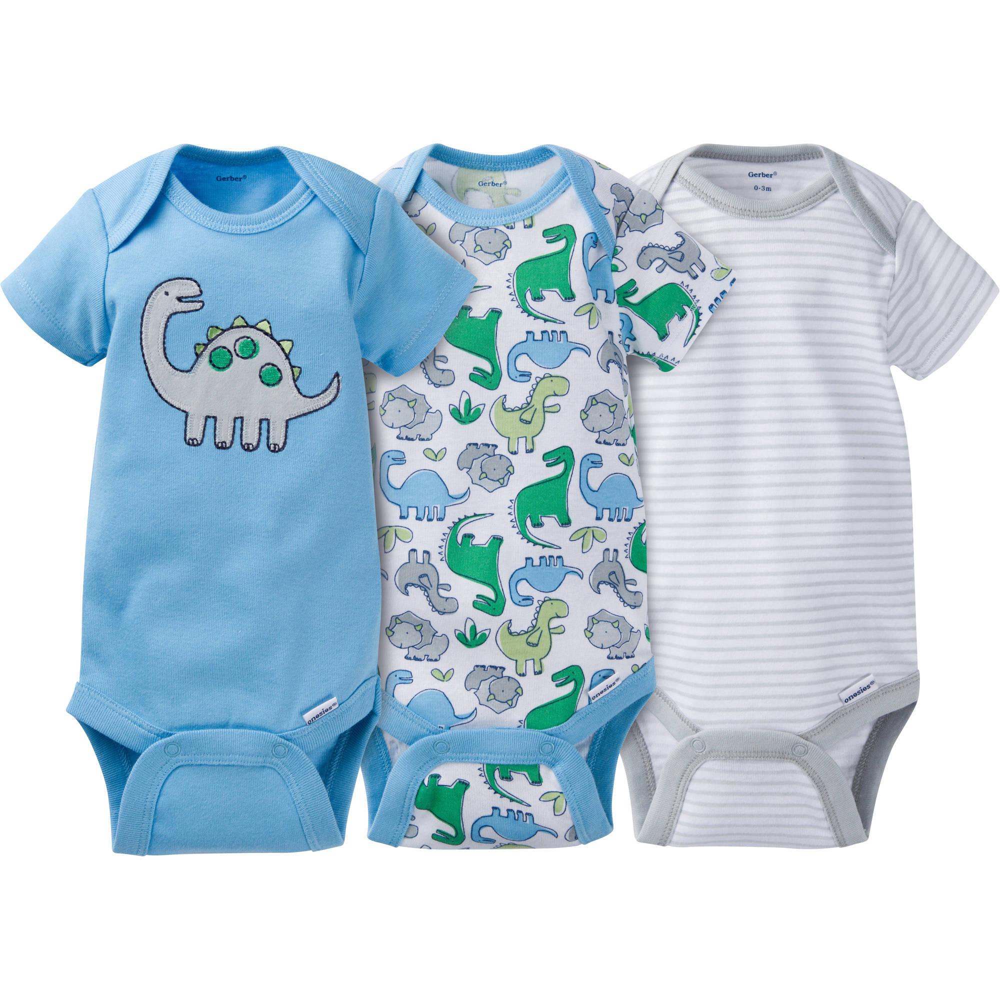 Gerber Newborn Baby Boy Onesies Bodysuits Assorted, 3-Pack