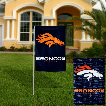 Denver Broncos Glitter Suede Garden Flag - No Size (Denver Broncos Decorations)