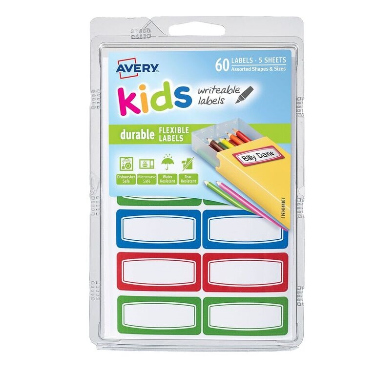 "(4 Pack) Avery(R) Kids Durable Labels 41441, Assorted, 3/4"" x 1-3/4"", Pack of 60"