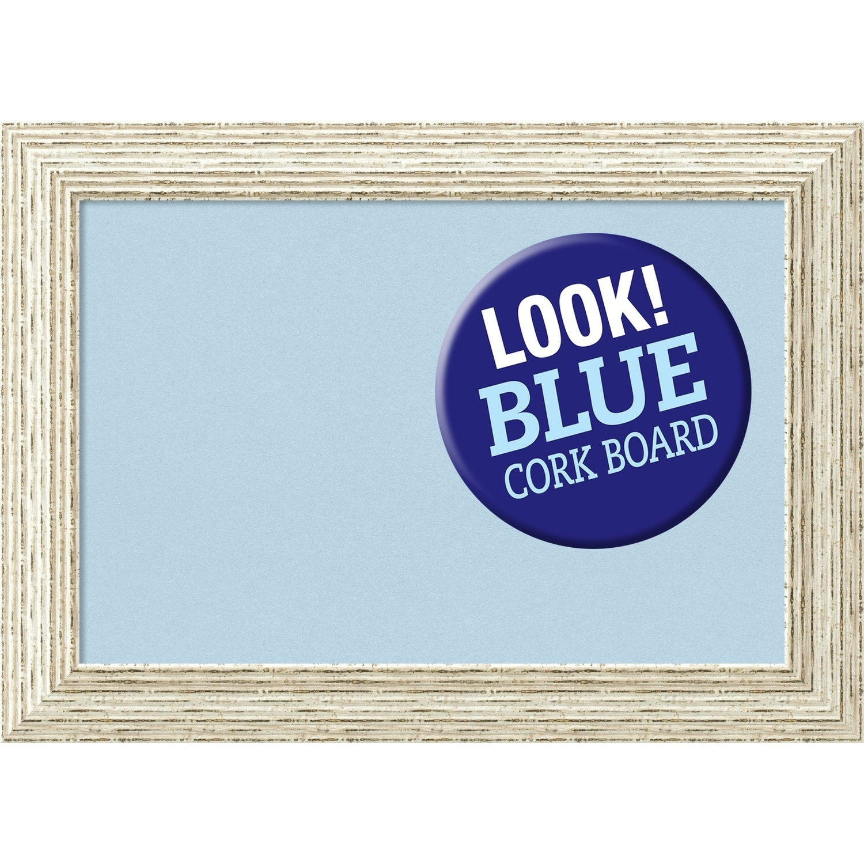 Amanti Art Framed Blue Cork Board, Cape Cod White Wash
