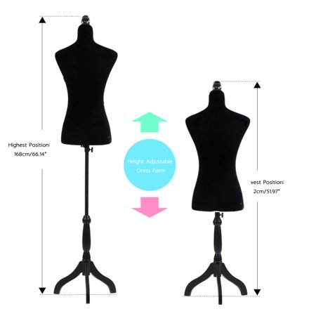 Zimtown Adjustable Dressmaker Female Mannequin Torso Dress Form Display w/ Tripod Stand Black ()