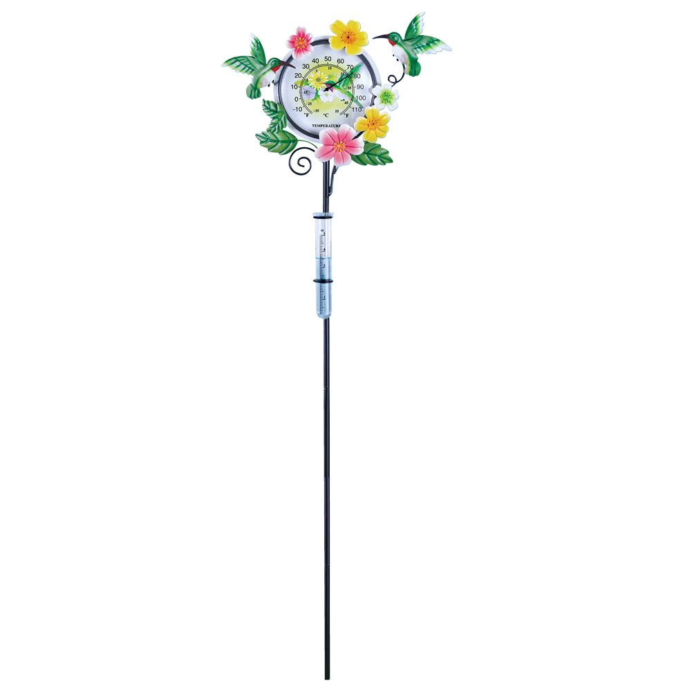 Hummingbird Outdoor Decorative Thermometer & Rain Gauge Yard Stake by Collections Etc