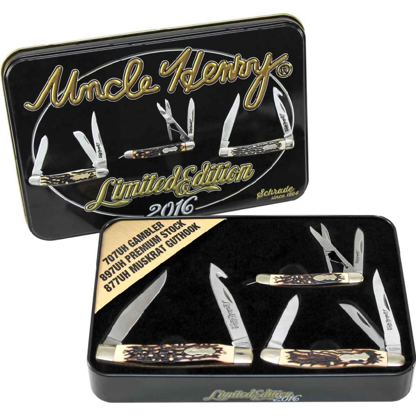 Schrade 3PC Pocket Knife Limited Gift set, SCPROM-16-41CP