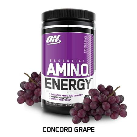 Optimum Nutrition Amino Energy Pre Workout + Essential Amino Acids Powder, Concord Grape, 30