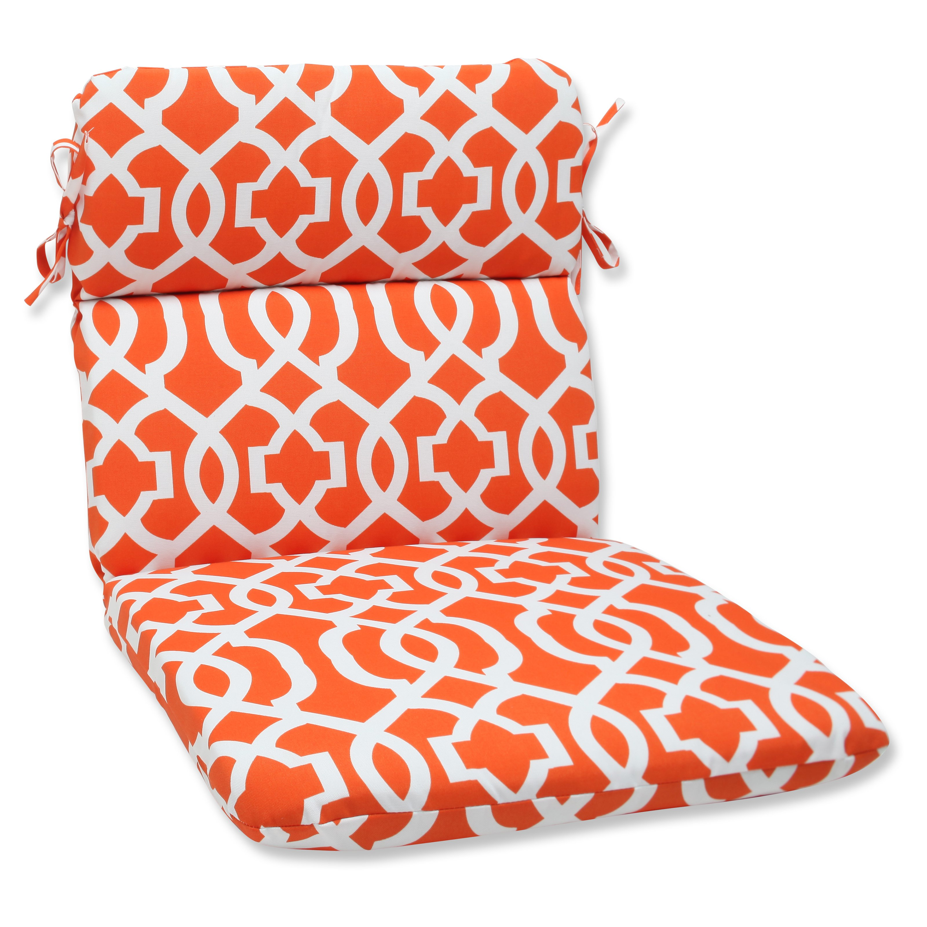 Pillow Perfect Outdoor/ Indoor New Geo Orange Rounded Corners Chair Cushion