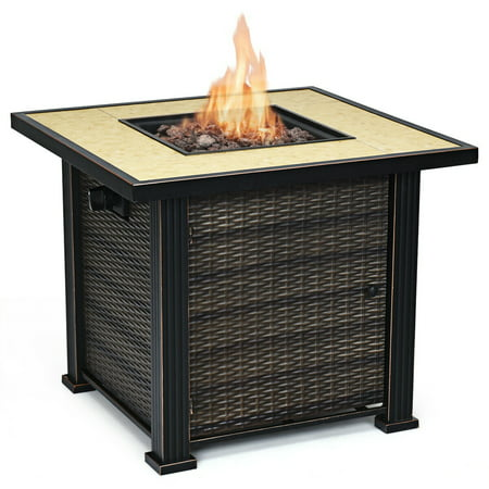 30 Square Propane Gas Fire Pit 50000 Btus Heater Outdoor Table