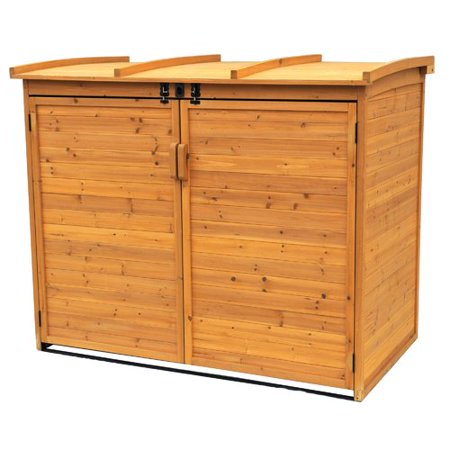 Horizontal Shed - Leisure Season Large Horizontal Refuse Storage Shed, Medium Brown