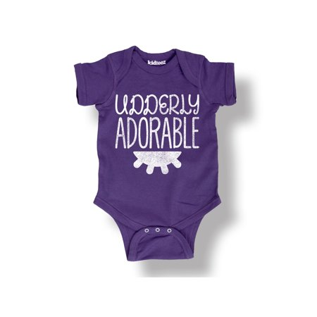 48357cafb Instant Message - Udderly Adorable Cow Country Funny Living Humor Kid Cute  Cool-Infant One-Piece - Walmart.com
