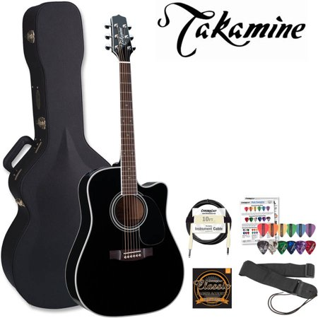 e6978a9357 811501005865. Takamine Pro Series EF341SC Gloss Black Acoustic Electric  Guitar Kit With Takamine Hard Case and ChromaCast Accessories