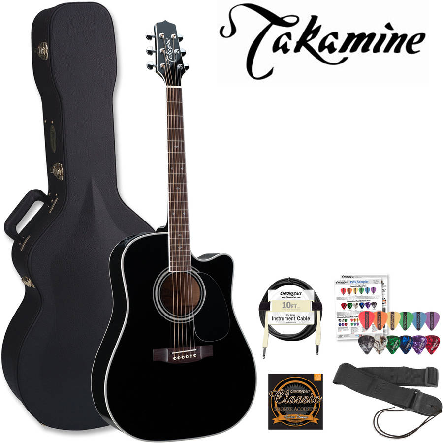 Takamine Pro Series EF341SC Gloss Black Acoustic Electric Guitar Kit With Takamine Hard Case and ChromaCast Accessories