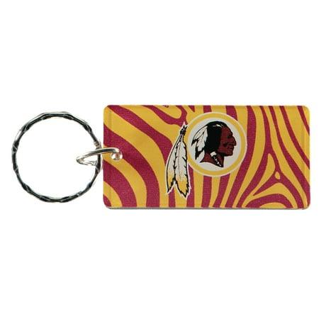 Washington Redskins Zebra Printed Acrylic Team Color Logo Keychain - No Size - Redskins Colors