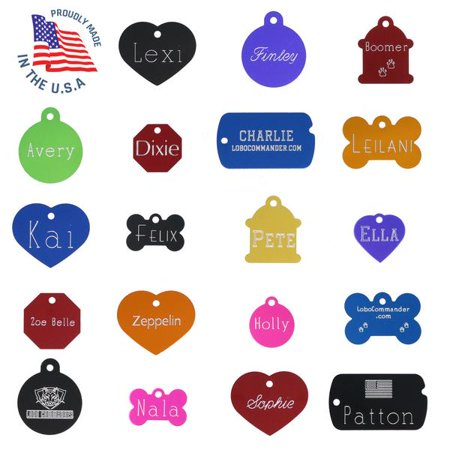 Custom Engraved Pet ID Tags For Your Dog Or Cat, Personalized Front And Back, Up To Four Lines Of Text Per Side, Many Shapes And Colors To Choose From, Small And Large Sizes Suitable For All
