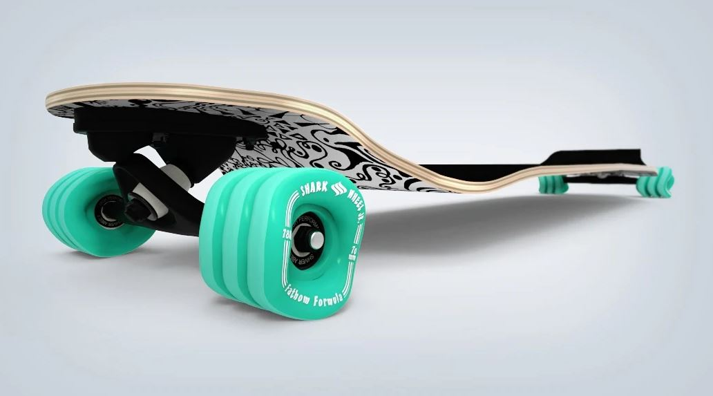 Fathom by Shark Wheel Long Drop Daydreamer Longboard Skateboard Complete, Black by Fathom by Shark Wheel