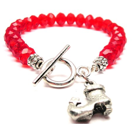 Crystal Star Charm Bracelet - Chubby Chico Charms Witch Boot With Star Crystal Toggle Bracelet in Crimson Red