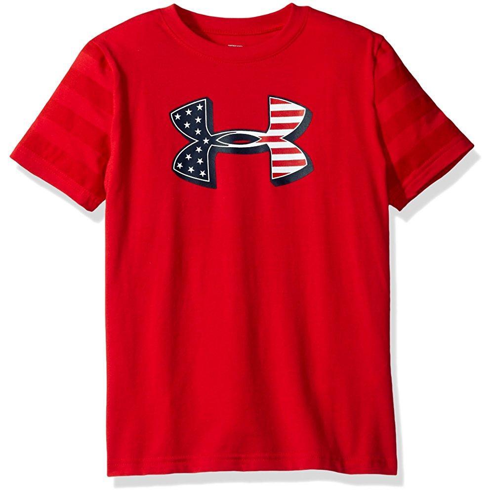 Under Armour boys' big logo flag t-shirt, red/blackout na...