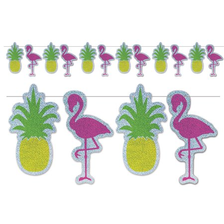 Beistle Flamingo & Pineapple Strung 12pc 9