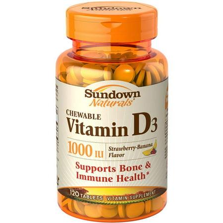sundown naturals strawberry banana chewable vitamin d3 vitamin supplement tablets 1000 iu 120. Black Bedroom Furniture Sets. Home Design Ideas