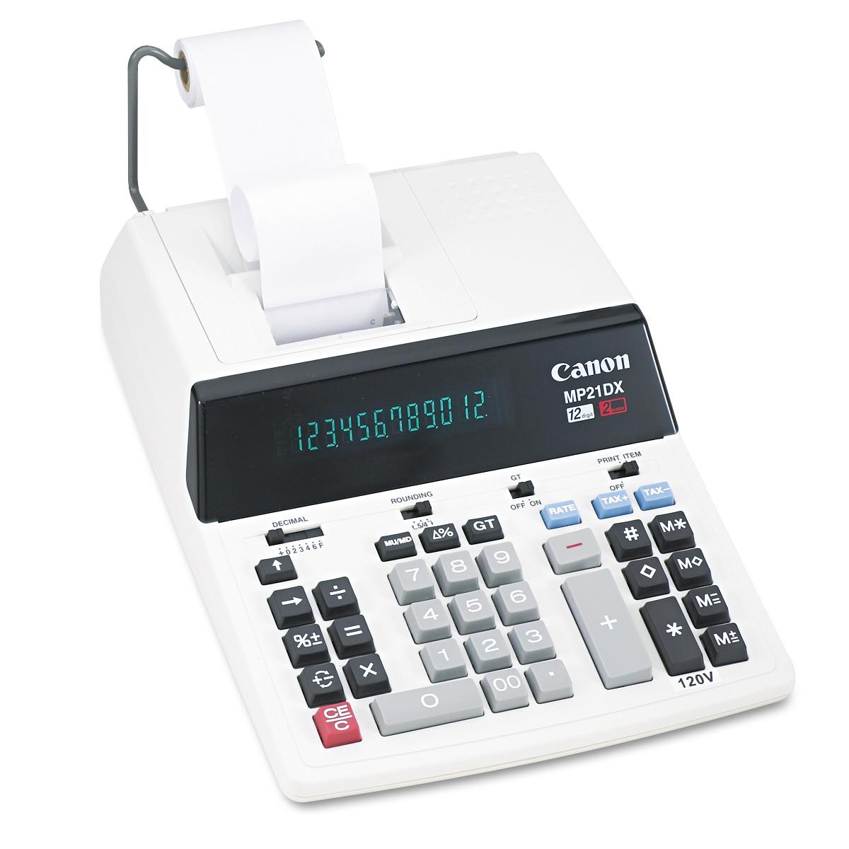 Canon MP21DX 12-Digit Ribbon Printing Calculator, Black/Red Print, 3.5 Lines/Sec