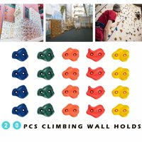 WADEO 20 Pcs Climbing Wall Hand Holds, Colourful Climbing Stones, Safe Rock Climbing Holds with 5 Different Colors for Kids Indoor and Outdoor Play