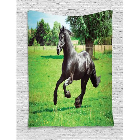 Animal Decor Wall Hanging Tapestry, Firesian Male Horse Masculine Driving Force Of Life Power Inner Strenghth Symbol Print, Bedroom Living Room Dorm Accessories, By Ambesonne Symbol Power Accessories