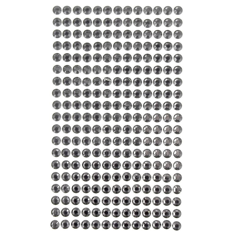 Round Adhesive Diamond Gem Stickers, Dark Grey, 6mm