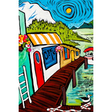 Seaside Cafe by Ben Mann Poster - Seaside Cafe