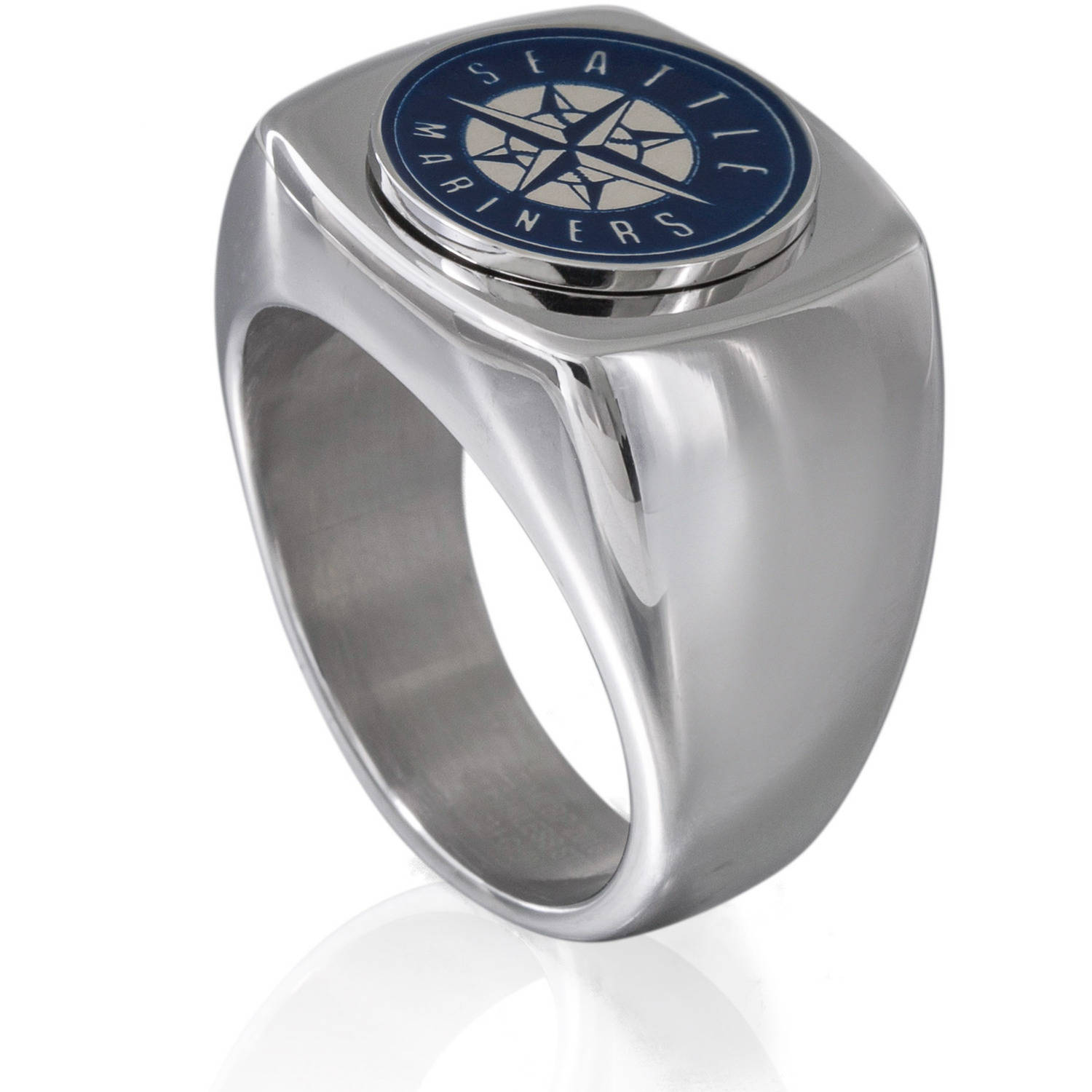 MLB License Stainless Steel Seattle Mariners Logo Ring