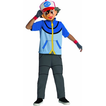 Vegan Halloween Cartoons (Ash Pokemon Trainer Cartoon Mask Child Boys Halloween Costume Blue (XL ))
