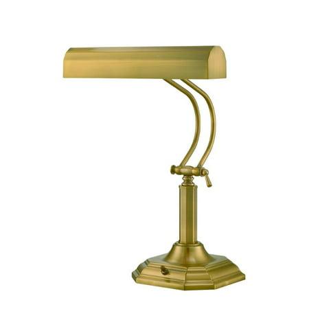 Lite Source Piano Mate 2 Light Desk Lamp in Antique Brass