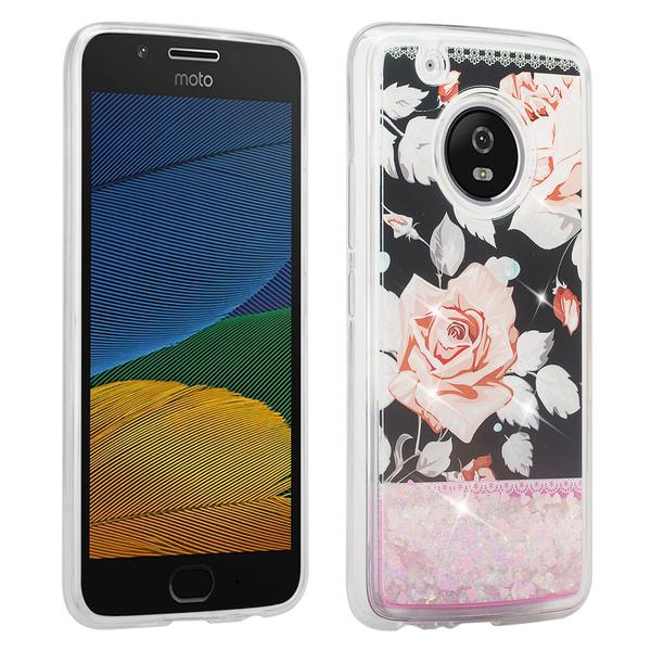 Moto G5 Plus Case Glitter Cute Liquid Glitter Waterfall Quicksand Soft Shock Proof Bling Bumper Phone Cover Girls for Moto G Plus (5th Generation) 2017 Release - White Roses - image 1 of 3