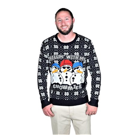 RWB Chillin With My Snowmies Ugly Christmas Sweater Pullover Slim Fit Navy (Grinch Christmas Sweater)