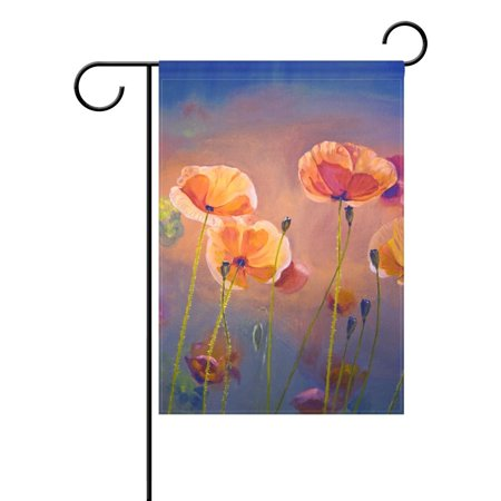 POPCreation Oil Painting Poppy Garden Flag Shabby Chic Floral Outdoor Flag Home Party 28x40 inches ()