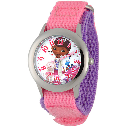 Disney Doc McStuffins Girls' Stainless Steel Glitz Case Watch, Pink Nylon Strap