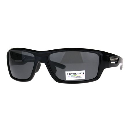 Polarized Antiglare Rectangular Warp Around Mens Sport Sunglasses Solid Black