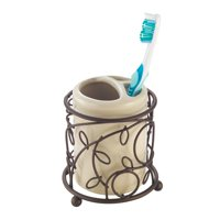Interdesign Twigz Ceramic Toothbrush Holder, Vanilla/Bronze