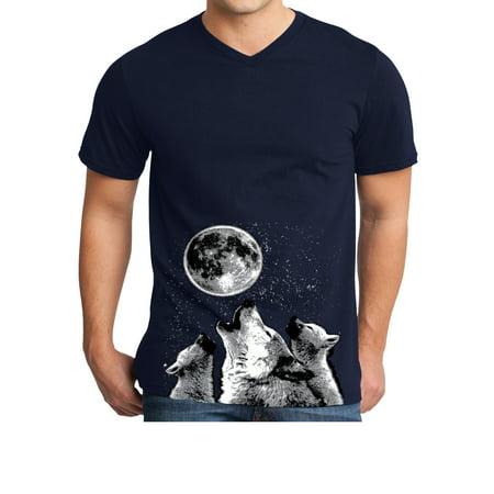 Mens 3-Wolf Moon (bottom print) V-neck Tee Shirt - Navy, Extra Small