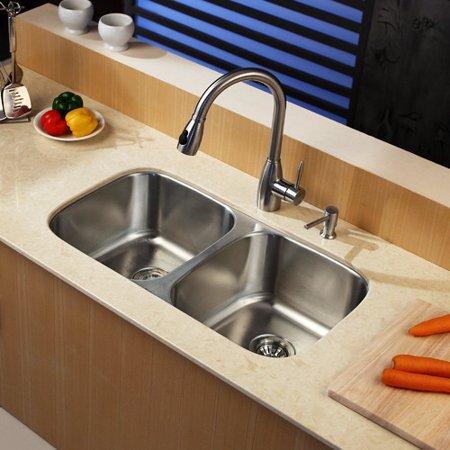 Kraus kbu22 kpf2130 sd20 double basin undermount kitchen sink with faucet - Walmart kitchen sinks ...