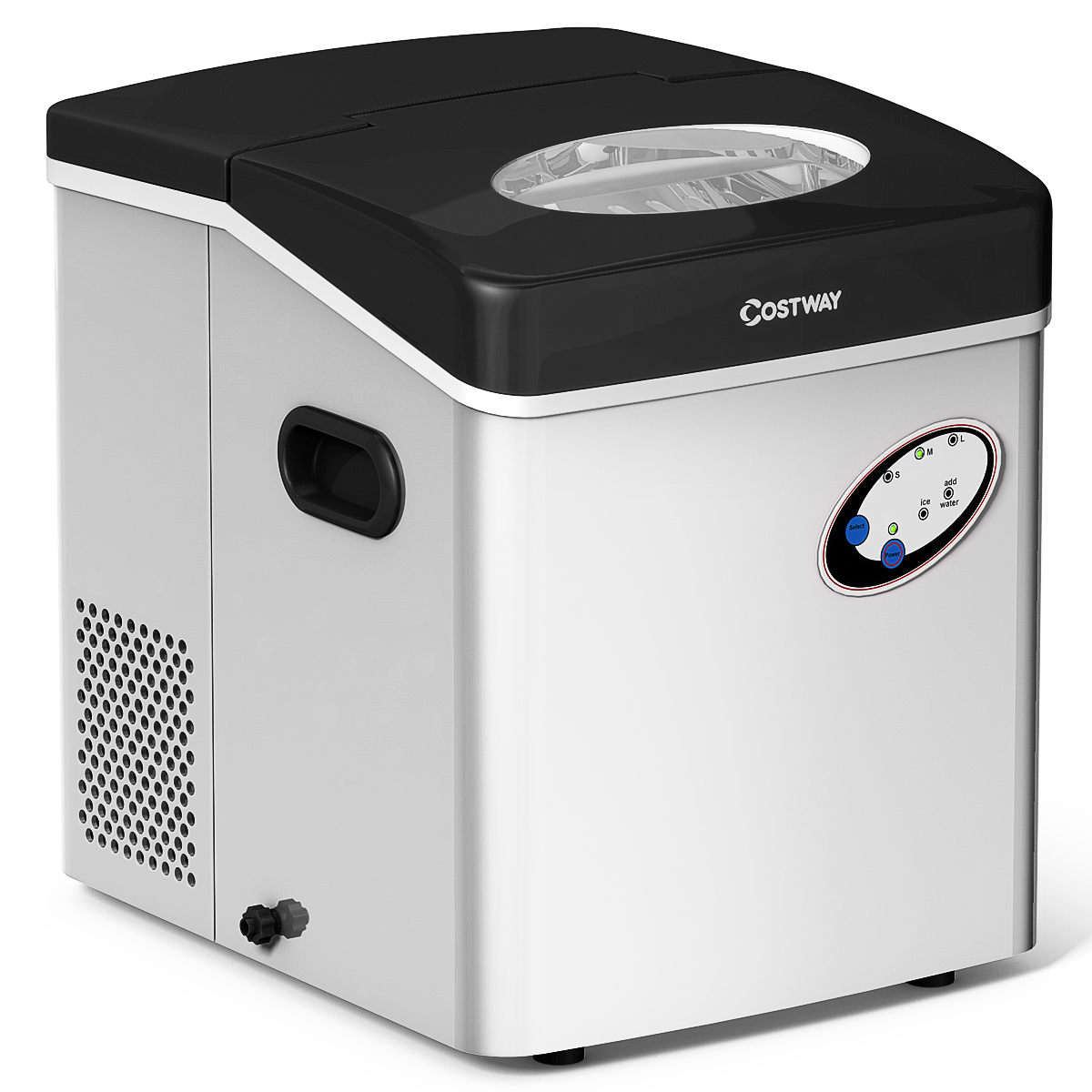 Costway Stainless Steel Ice Maker Countertop 48lb Per Day Freestanding Portable Icemaker