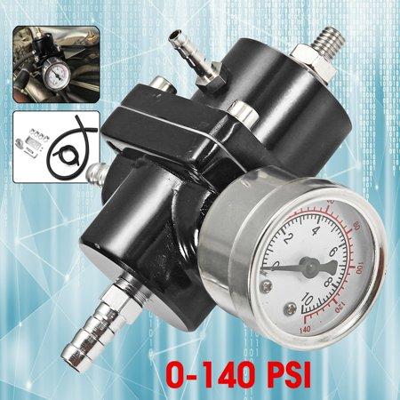 Universal Adjustable Car Modification Fuel Pressure Regulator Supercharger w/ 0-140 Psi Oil Gauge + Hose