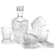 Bormioli Rocco Dedalo 7 Piece Crystal Cut Glass Whisky Decanter and Rocks Tumbler Set