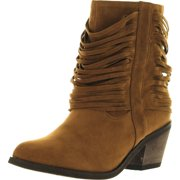 Refresh Womens Makay-03 FAUX SUEDE SHREDDED FRINGE MID ANKLE COWBOY BOOTS Shoes, Camel, 6.5