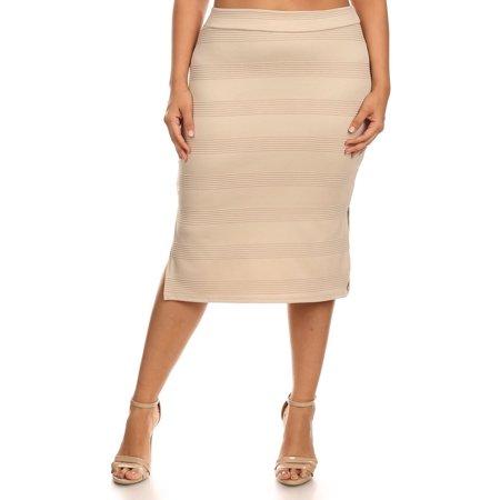 Plus Size Women's Trendy Style Knee Length Pencil Skirt