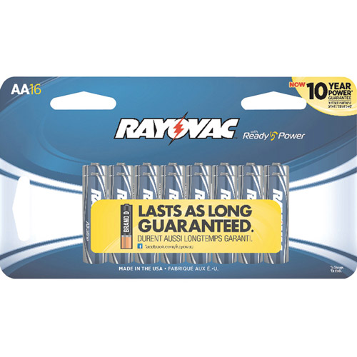 Rayovac AA Alkaline Batteries, Carded, 16-Pack