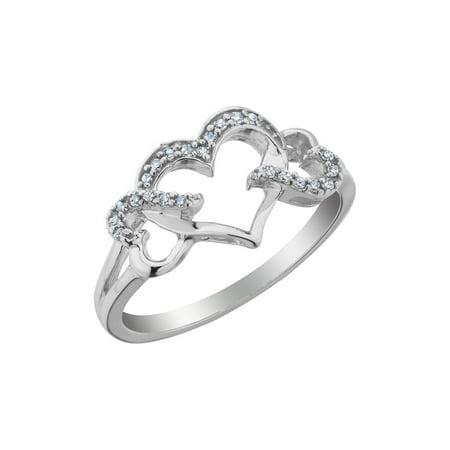 Diamond Triple Heart Promise Ring 1/10 Carat (ctw) in Sterling Silver - image 2 de 2